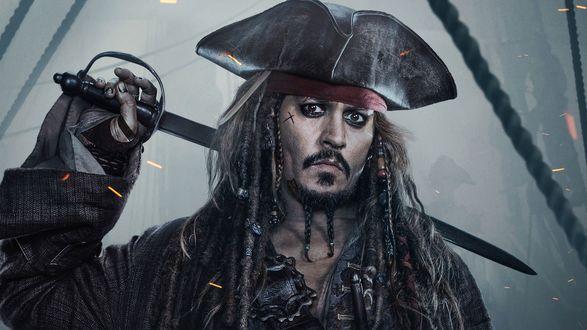 Обои Капитан Джек Воробей / Jack Sparrow из фильма Пираты Карибского моря / Pirates of the Caribbean