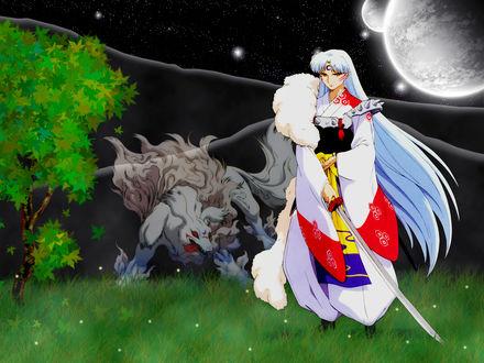 Обои Sesshomaru / Сессшомару и демонический зверь стоят на поляне в полнолуние из аниме Инуяша / InuYasha, by Rumiko Takahashi