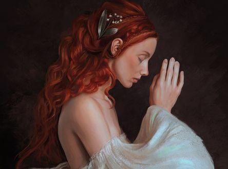 Обои Девушка в белом платье молится, by Mandy Jurgens