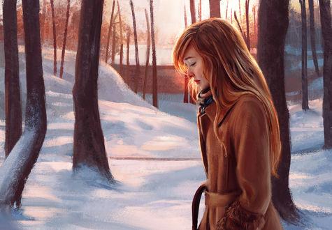 Обои Девушка в пальто на фоне зимней природы, by Mandy Jurgens