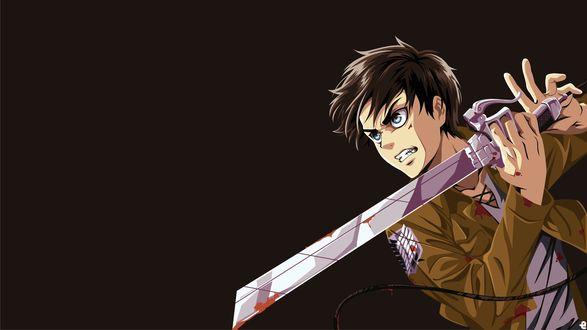Обои Eren Jaeger / Эрен Йегер с окровавленным клинком из аниме Shingeki no Kyojin / Атака Титанов