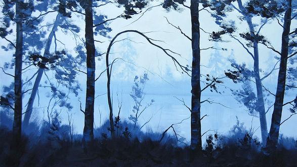 Обои Рисунок. Деревья у туманной реки