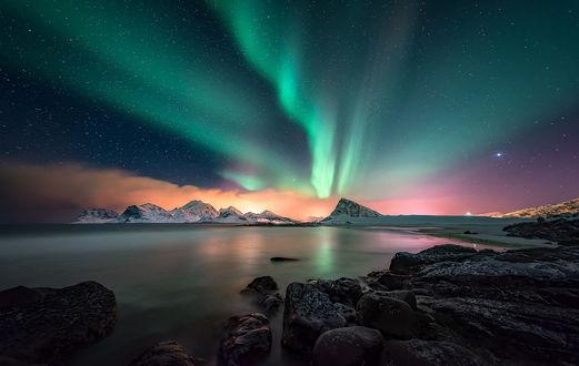 Обои Северное сияние над Лофотенскими островами, by PROHPD-fotografy