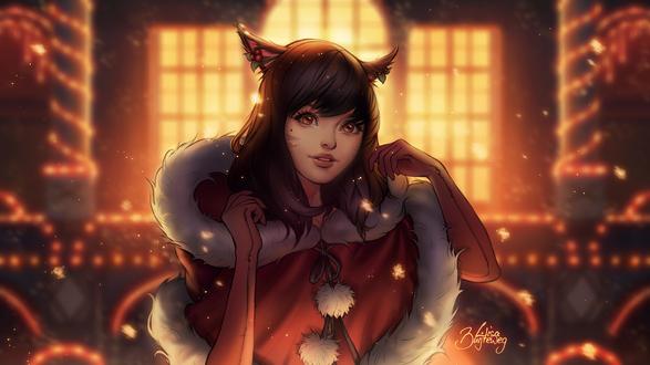 Обои Темноволосая девушка с ушками в красном новогоднем костюме на фоне храма, by Zolaida