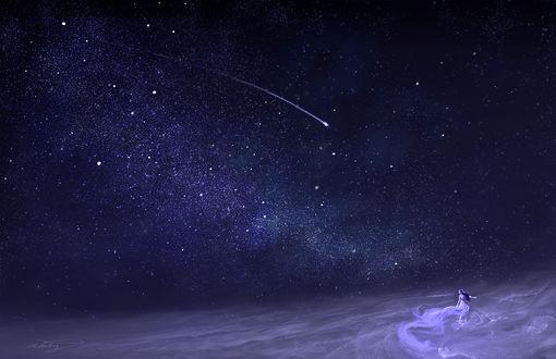 Обои Девушка в белом платье танцует на фоне ночного неба, by DreamerWhit