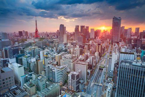 Обои Панорама сверху на рассвет в Токио / Tokyo с телебашней, Япония / Japan