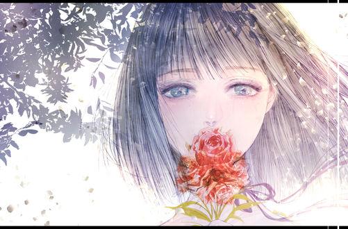 Обои Плачущая девушка с розой, by kuroe