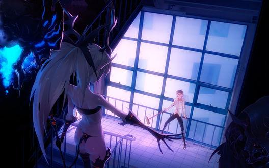 Обои Девушка-демон и несколько монстров загнали в угол парня со шваброй, автор Ladic