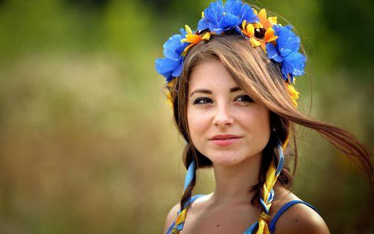 Обои Русоволосая девушка в венке из полевых синих и желтых цветов
