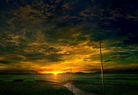 Обои Солнце на закате освещает зеленые поля, by mks