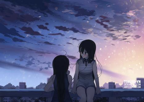 Обои Две девушки на фоне неба, by teagirl-vn