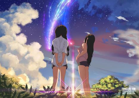 Обои Две девушки смотрящее на небо с облаками, by teagirl-vn