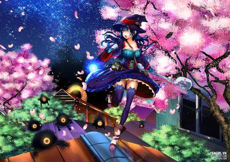 Обои Девушка с посохом бежит по крыше от монстров на фоне ночного неба и сакуры, by teagirl-vn