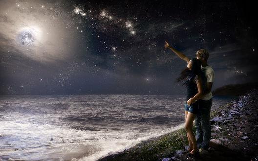 Обои Парень с девушкой любуются ночными звездами