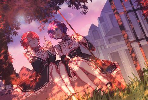 Обои Rem / Рем и Ram / Рам качаются на качелях в парке у замка из аниме Re: Zero kara Hajimeru Isekai Seikatsu / Re: Жизнь с нуля в параллельном мире