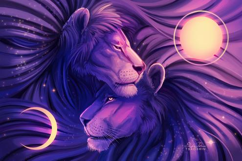 Обои Два льва, прильнувшие друг к другу, by TsaoShin