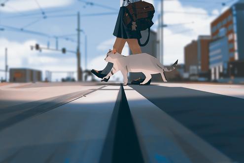 Обои Школьница с кошкой переходят дорогу, by snatti
