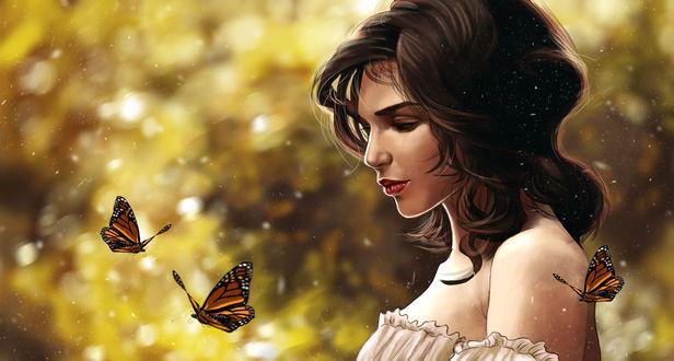 Обои Вокруг девушки летают бабочки