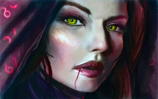 Обои Рыжеволосая и зеленоглазая девушка с кровью возле губ, by Titaniasky