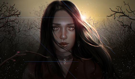 Обои Портрет темноволосой девушки на фоне голых деревьев, by Aoleev