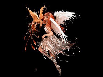 Обои Рыжая крылатая фея с жар-птицей на черном фоне