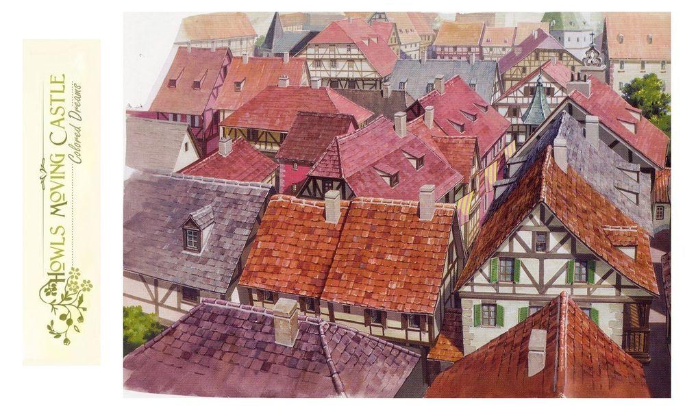 Обои для рабочего стола Черепичные крыши городских домов из аниме Howl no Ugoku Shiro / Ходячий замок Хаула, art by Hayao Miyazaki