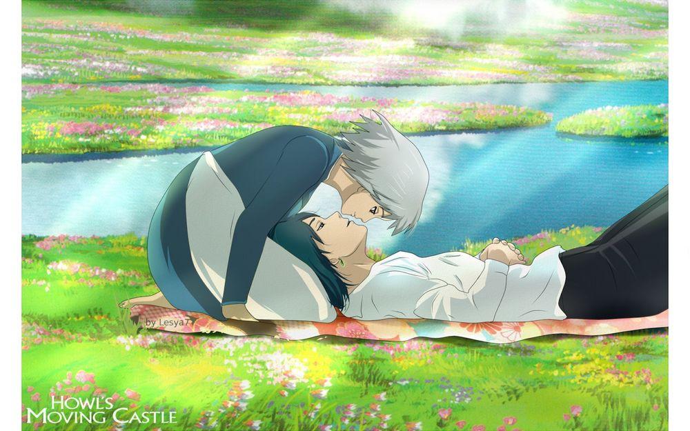Обои для рабочего стола Howl / Хаул и Sophie Hatter / Софи Хаттер отдыхают на цветущем лугу из аниме Howl no Ugoku Shiro / Ходячий замок Хаула, art by Hayao Miyazaki