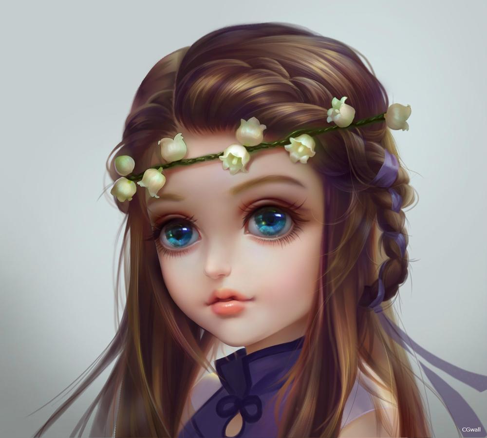 Обои для рабочего стола Кукла с голубыми волосами и с цветами ландыша на волосах