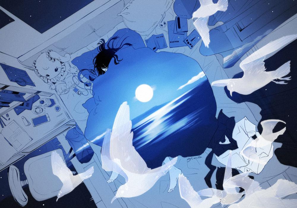 Обои для рабочего стола Девушка спит в кровати, укрывшись одеялом с изображением луны над морем, над кроватью парят чайки