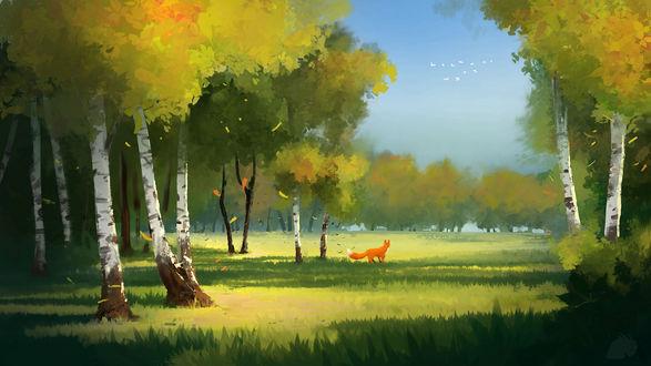 Обои Рыжая лисичка на фоне природы, by NewmanD