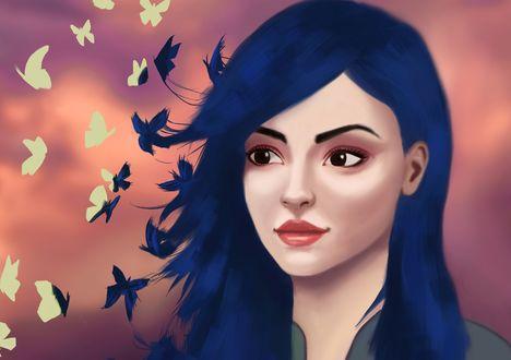 Обои Девушка с синими волосами и разлетающимися бабочками
