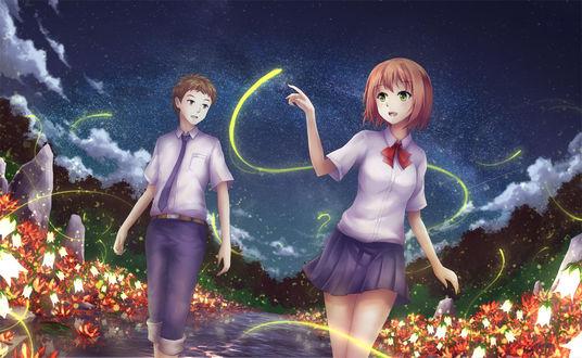 Обои Парень и девушка идут в воде на фоне цветов, ночного неба и светлячков, by AsakuraShinji