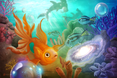 Обои Золотая рыбка под водой, by KonoArt