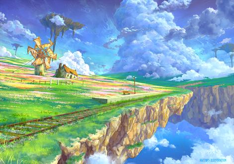 Обои Парящий в небе остров, автор Kaitan
