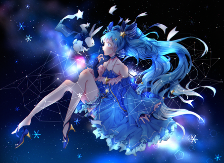 Обои Вокалоид Мику Хацунэ / Hatsune Miku в космосе, автор Najuco