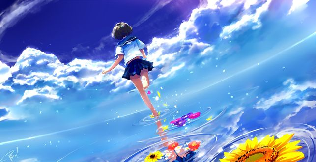 Обои Девушка бежит по воде, оставляя после себя цветы, автор Potion Lilac
