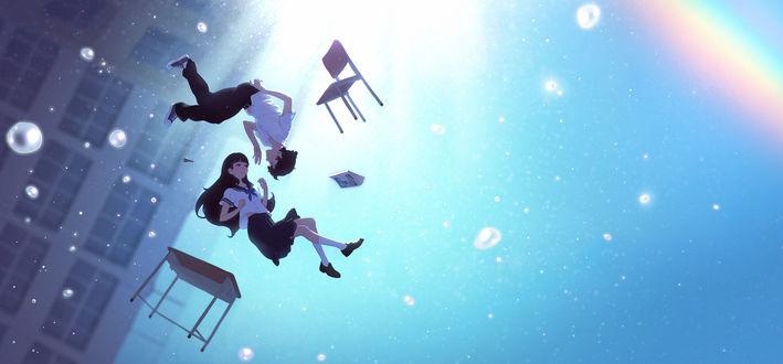 Обои Парень с девушкой парят в воздухе между стулом и столом, by Kuvshinov Ilya