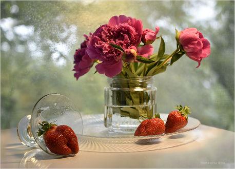 Обои На столе ваза с пионами c клубникой рядом, фотограф Шипунова Ирина