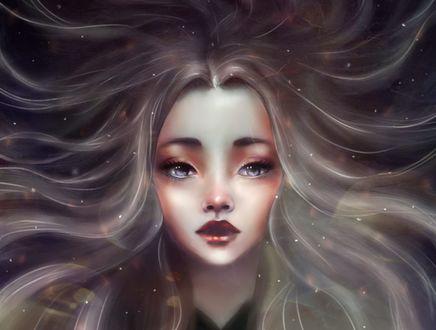 Обои Девушка с длинными волосами, by Bys-Vynitha