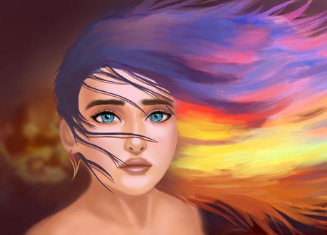 Обои Голубоглазая девушка с развевающимися волосами