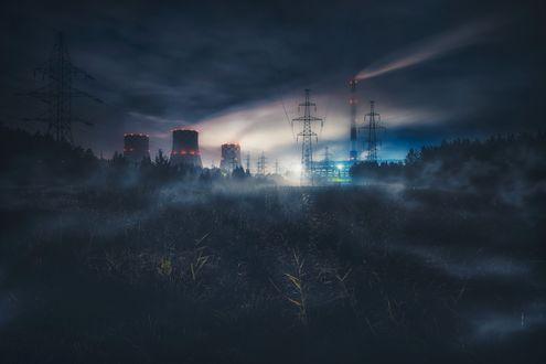 Обои Технические сооружения под облачным ночным небом