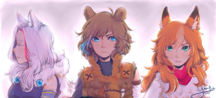 Обои Три девушки с ушками, by darksoul0170