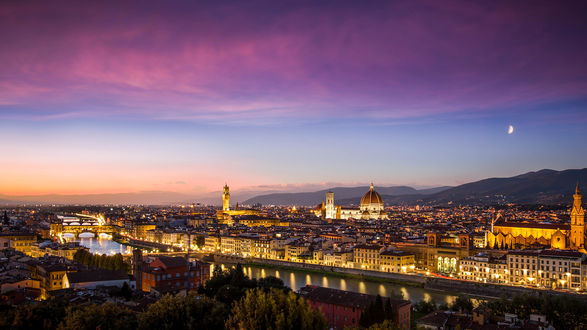 Обои Вечерний город Флоренция, Италия