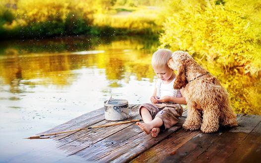 Обои Мальчишка рыбачит с мостика на небольшой речушке, рядом с ним его друг спаниель