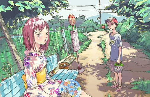 Обои Nandaba Naota / Нандаба Наота и Samejima Mamimi / Самеджима Мамими из аниме FLCL / Фури-кури