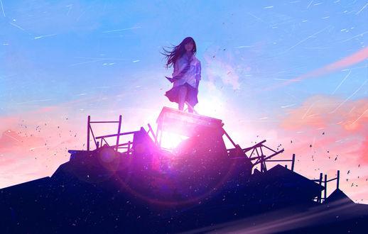 Обои Девушка стоит на столе на фоне солнца на небе, by wataboku