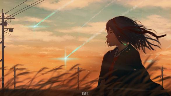 Обои Школьница стоит на фоне заката, by Avnil