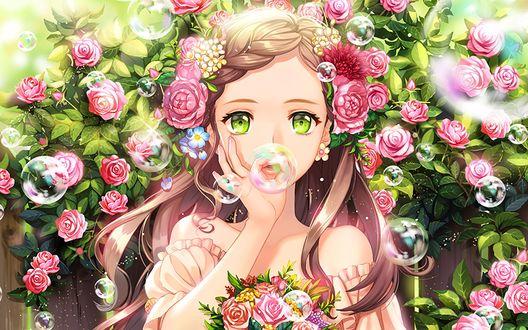 Обои Зеленоглазая девушка пускает мыльные пузыри на фоне куста роз