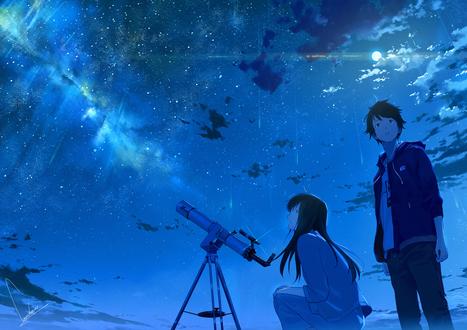 Обои Девушка и парень любуются звездами, by loundraw