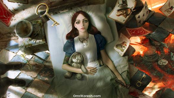 Обои Алиса с кроликом в руке лежит на постели, арт к игре American McGees Alice: Madness Returns, by OmriKoresh